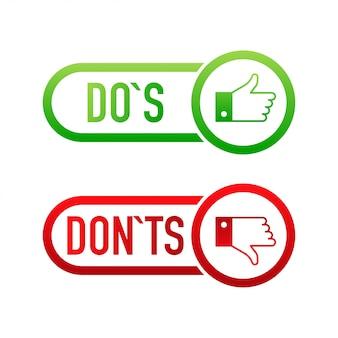 Флажки кнопки пользовательского интерфейса с dos и donts. плоская простая тенденция стиля современная красная и зеленая галочка.