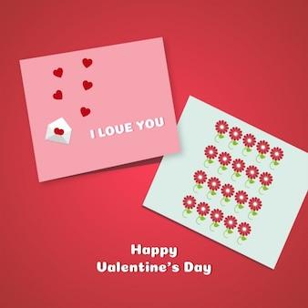 Dos tarjetas en un fondo rojo
