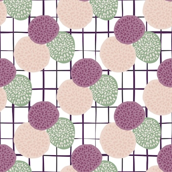 Dot circles bright doodle pattern with white chequered background. purple, light green and pink figure elements.