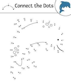 Dot-to-dot activity with cute animal. connect the dots game. dolphin line drawing. funny summer coloring page for kids.