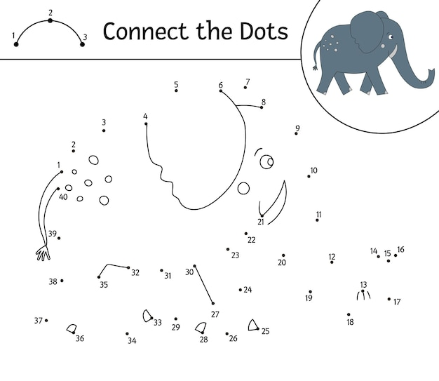 Dot-to-dot activity with cute animal. connect the dots game. elephant line drawing. funny tropical coloring page for kids.