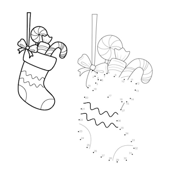 Dot to dot christmas puzzle for children. connect dots game. sock vector illustration
