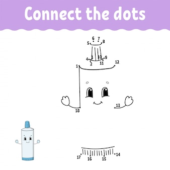 Dot to dot. draw a line. handwriting practice. learning numbers for kids