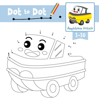 Dot to dot educational game and coloring book amphibious vehicle cartoon character perspective view illustration