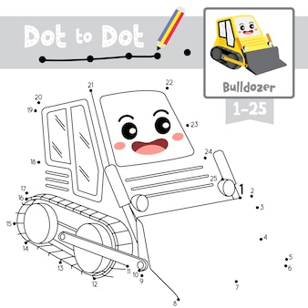 Dot to dot educational game and coloring book bulldozer cartoon character perspective view illustration