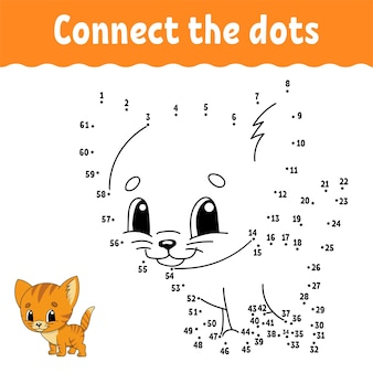 Dot to dot game cat draw a line