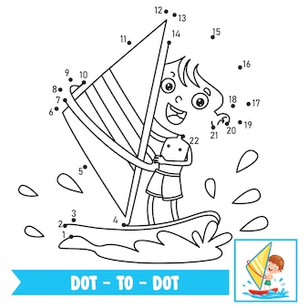 Dot to dot game illustration for children education