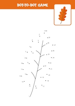 Dot to dot game with cartoon autumn leaf. connect the dots. math game. dot and color picture.