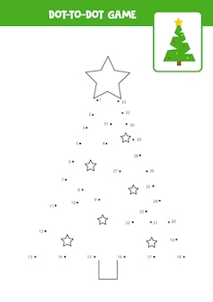 Dot to dot game with christmas tree connect the dots math game dot and color picture