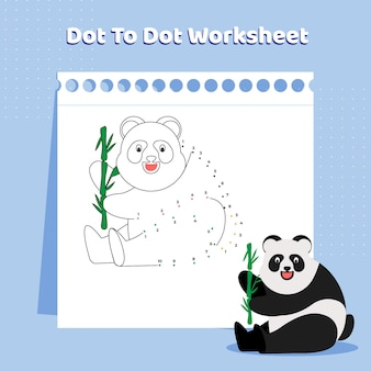 Dot to dot game worksheet with panda animal