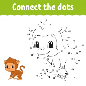 Dot to dot monkey draw