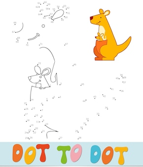 Dot to dot puzzle for children. connect dots game. kangaroo vector illustration