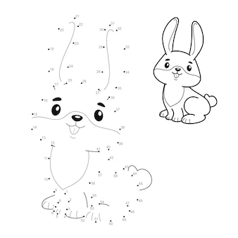 Dot to dot puzzle for children. connect dots game. rabbit illustration