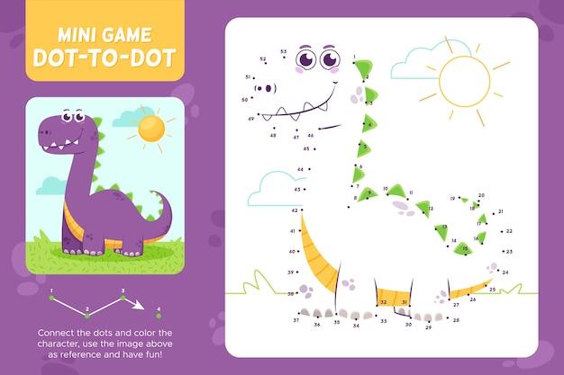 Dot to dot worksheet dinosaur
