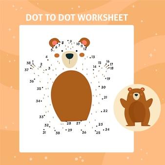 Dot to dot worksheet with bear