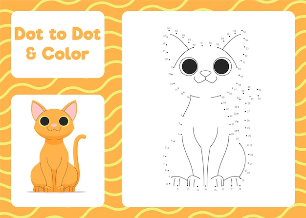 Dot to dot worksheet with cat