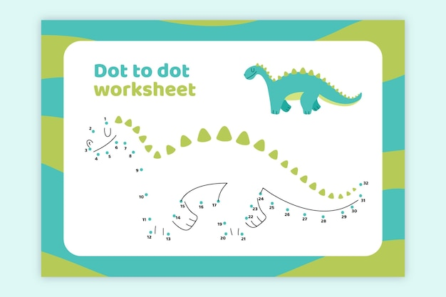 Dot to dot worksheet with dinosaur