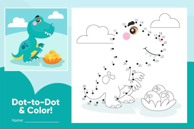 Dot to dot worksheet with dinosaur