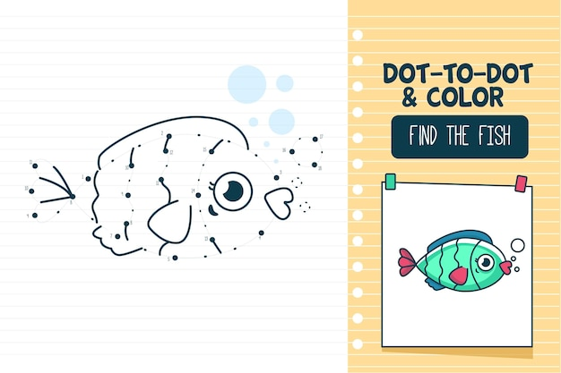 Dot to dot worksheet with fish