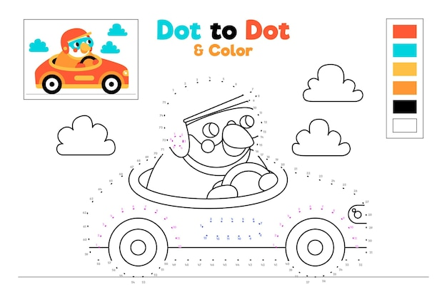 Dot to dot worksheet with racing car