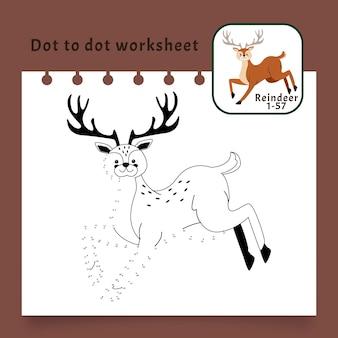 Foglio di lavoro punto per punto con le renne Vettore gratuito