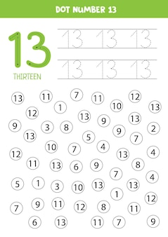 Dot numbers. number thirteen. educational math game for kids.