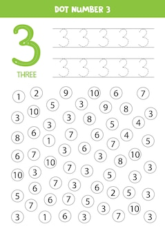 Dot numbers. number three. educational math game for kids.
