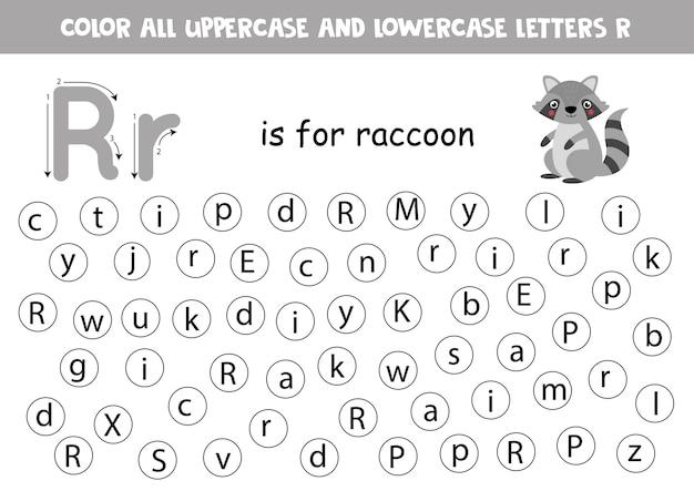 미취학 아동을위한 점 또는 컬러 문자 r. 알파벳 학습 페이지. abc 게임. r은 너구리입니다.
