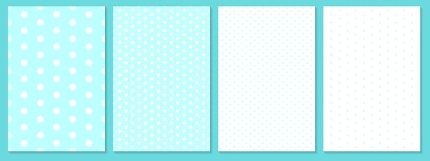 ドットパターンセット。赤ちゃんの背景。青色。水玉柄。