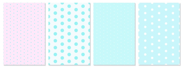 Dot pattern set. baby background. blue, pink colors. polka dot pattern.