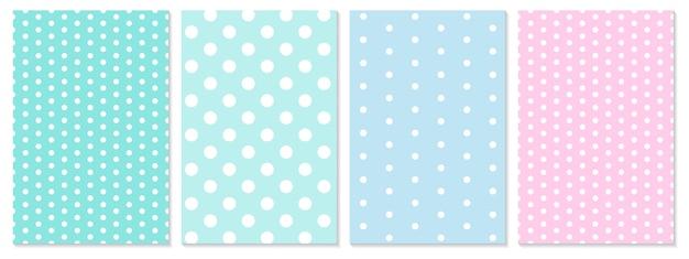 ドットパターンセット。赤ちゃんの背景。青、ピンク色。水玉柄。