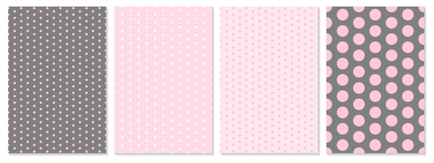 Dot pattern set. baby background. pink color.  illustration. polka dot pattern.