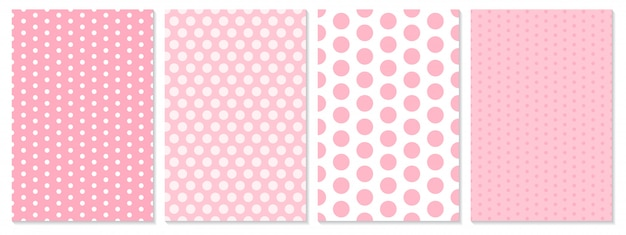 ドットパターンセット。赤ちゃんの背景。ピンク色。図。水玉柄。