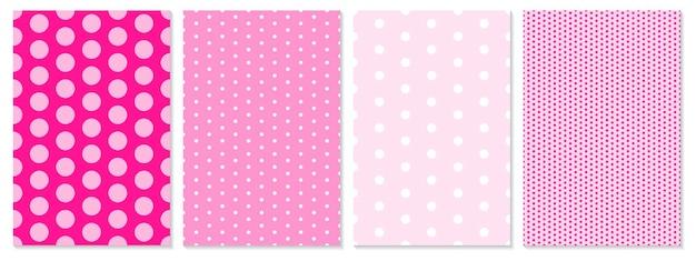 ドットパターンセット。赤ちゃんの背景。ピンク色。ベクトルイラスト。水玉模様。