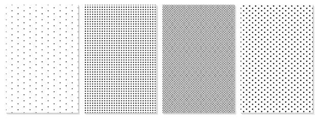 ドットパターンセット。モノクロの背景。水玉模様。
