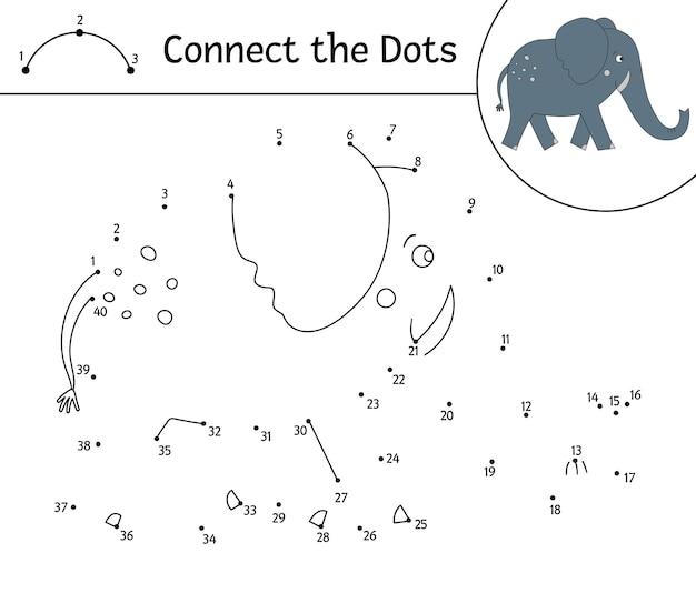 귀여운 동물과의 점대 점 활동. 점 게임을 연결하십시오. 코끼리 선 그리기. 아이들을위한 재미있는 열대 색칠 공부 페이지.