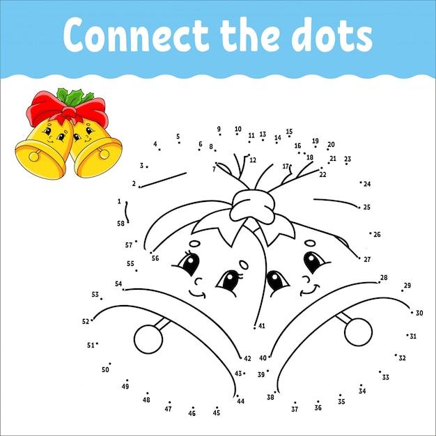 Игра точка в точку. нарисуй линию. рождественские колокола с листьями падуба и лук.