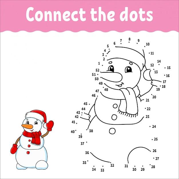 Игра точка в точку. нарисуй линию. рождественский снеговик. для детей. рабочий лист деятельности.