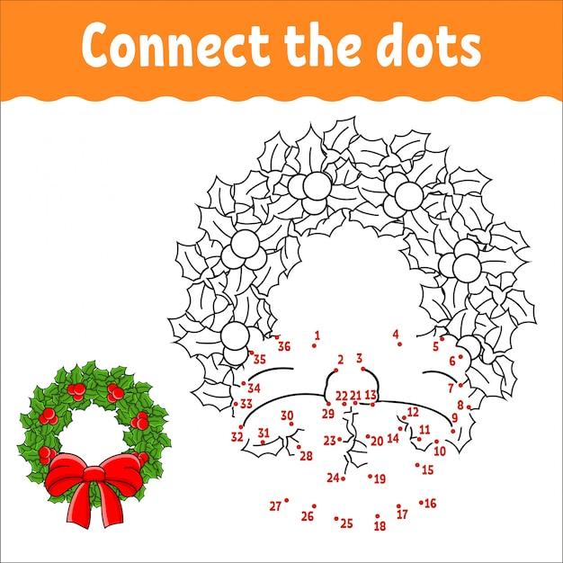 Игра точка в точку. нарисуй линию. рождественский венок из листьев падуба и ягод украшен бантом.