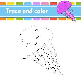 ドットゲーム。線を引きます。子供のための。アクティビティワークシート。塗り絵。漫画のキャラクター。