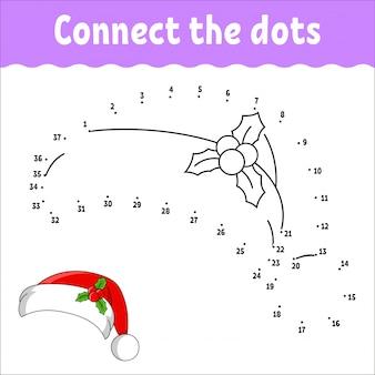 Игра точка в точку. нарисуй линию. санта-клаус меховая шапка с холли. для детей. рабочий лист деятельности.