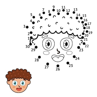 子供のためのドットゲーム。点をつなぎ、男の子の頭を描きます。