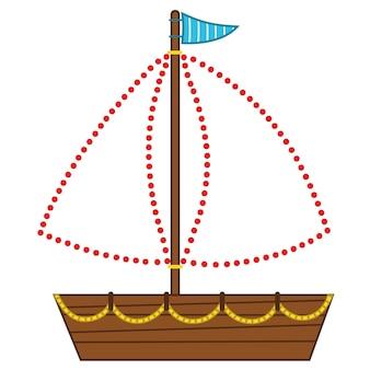 Игра точка-точка включает мультяшный парусник, векторные иллюстрации для детей