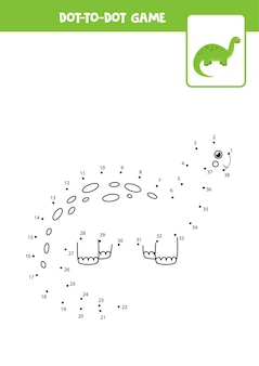 かわいい緑の恐竜とドットゲーム。点を結びます。数学ゲーム。ドットとカラー画像。