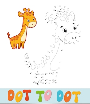 Точка за точкой. игра «соедините точки». жираф векторные иллюстрации