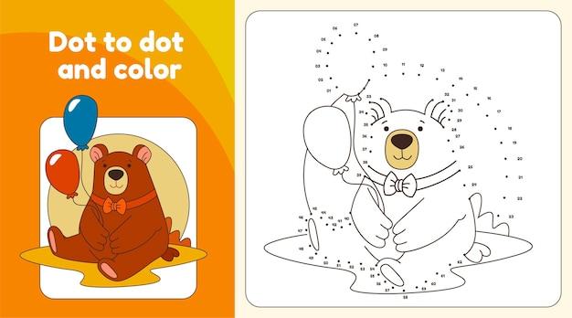 Точка за точкой рабочий лист с медведем Бесплатные векторы