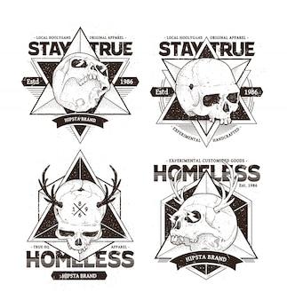 Dot work skull emblems
