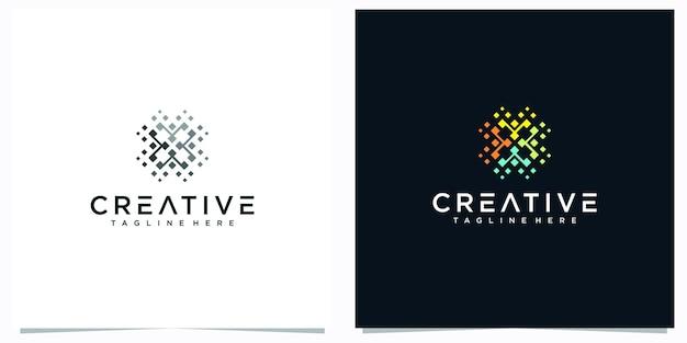 ドット抽象的なロゴデザインのインスピレーション。クリエイティブなラインスクエアとエレガントな幾何学