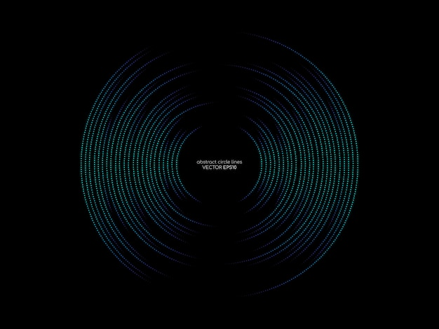 Dots circle line pattern of abstract sound wave equalizer green and blue colors on black background in the concept of music, technology.