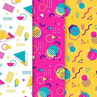 Dots and shapes memphis seamless pattern